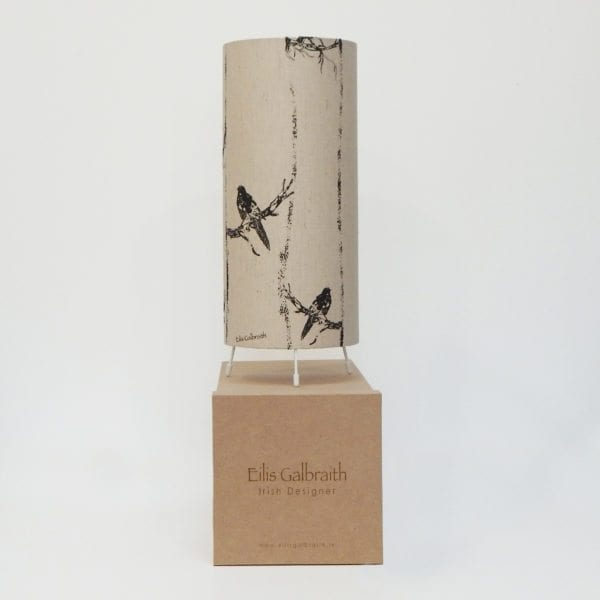 Birds in Branches Table Lamp Cotton/Linen Fabric by Irish Eilis Galbraith