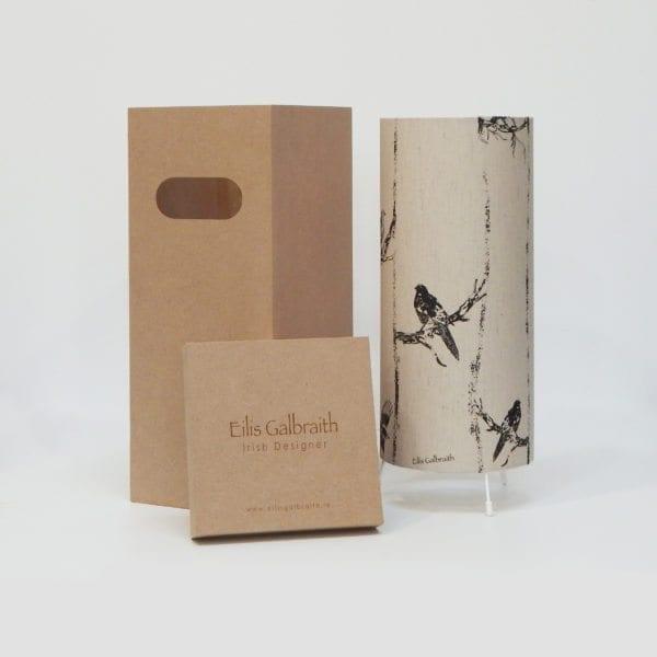 Birds in Branches Table Lamp Cotton/Linen Fabric by Irish Designer Eilis Galbraith