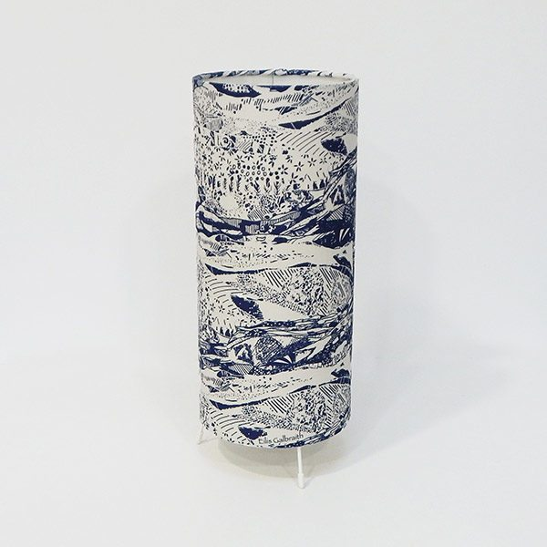 Blue Abstract Landscape Table Lamp Cotton/Linen Fabric by Irish Eilis Galbraith