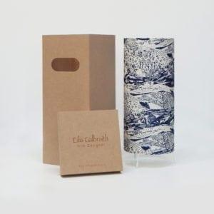 Abstract Blue Landscape Table Lamp Cotton/Linen Fabric by Irish Eilis Galbraith