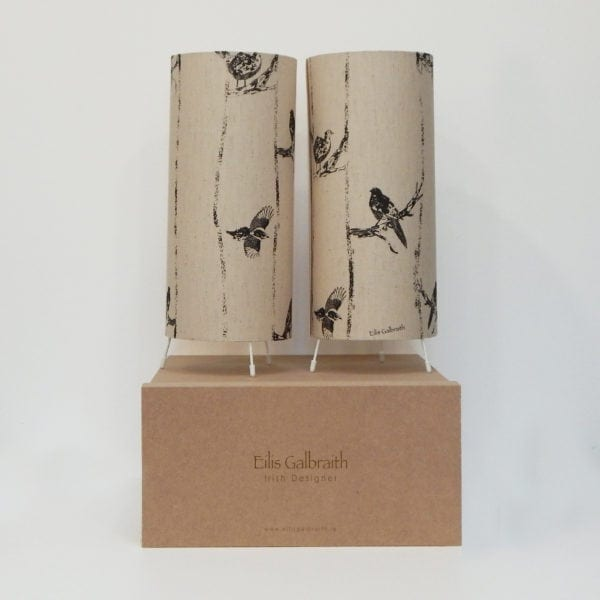 Birds in Branches Set of 2 Table Lamps Cotton/Linen Fabric by Irish Designer Eilis Galbraith