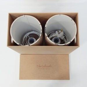 Birds in Branches Set of 2 Table Lamps Cotton/Linen Fabric by Irish Designer Eilis Galbraith