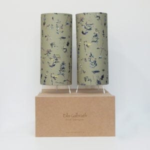 Floral Set of 2 Table Lamps Cotton/Linen Fabric by Irish Designer Eilis Galbraith