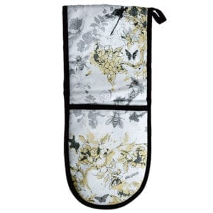 Oven Gloves Wilderness in Bloom (yellow and grey)